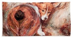 Bath Towel featuring the painting Corgi Butt by Patricia Lintner