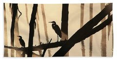 Cormorant And The Heron Bath Towel