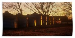 Bath Towel featuring the photograph Corn Cribs At Sunset by Rodney Lee Williams