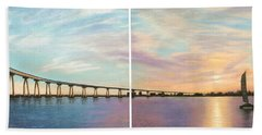 Coronado Bridge Sunset Diptych Hand Towel