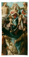 Coronation Of The Virgin With Saints Joseph And Francis Of Assisi Hand Towel