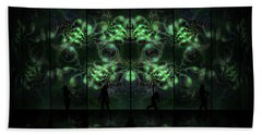 Hand Towel featuring the digital art Cosmic Alien Vixens Green by Shawn Dall
