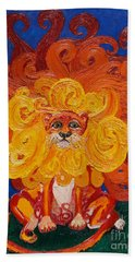 Bath Towel featuring the painting Cosmic Lion by Cassandra Buckley