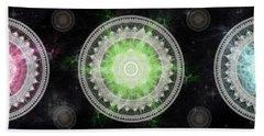 Bath Towel featuring the digital art Cosmic Medallians Rgb 1 by Shawn Dall
