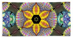 Bath Towel featuring the digital art Cosmic Spiral Kaleidoscope 13 by Derek Gedney