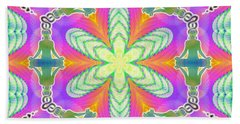 Bath Towel featuring the digital art Cosmic Spiral Kaleidoscope 18 by Derek Gedney