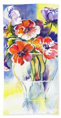 Hand Towel featuring the painting Cosmos I by Carol Wisniewski