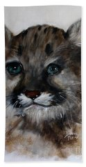 Bath Towel featuring the painting Antares - Cougar Cub by Barbie Batson