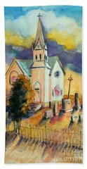 Bath Towel featuring the painting Country Church At Sunset by Kathy Braud