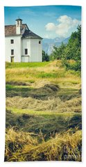 Bath Towel featuring the photograph Country Church With Hay by Silvia Ganora
