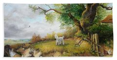 Bath Towel featuring the painting Country Life  by Sorin Apostolescu