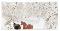 Country Snow Bath Towel by Cheryl Baxter
