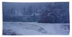 Bath Towel featuring the photograph Country Snowstorm Landscape Art Prints by Valerie Garner