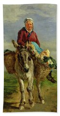 Country Woman Riding A Donkey Hand Towel