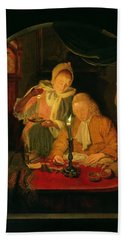 Couple Counting Money By Candlelight, 1779 Panel Bath Towel