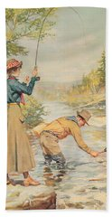 Couple Fishing On A River Hand Towel by Anonymous