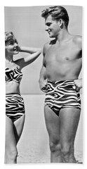 Couple In Matching Attire Bath Towel