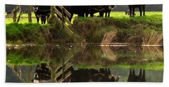 Cow Reflections Bath Towel