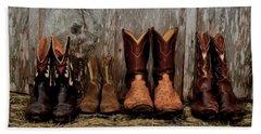 Cowboy Boots And Wood Bath Towel