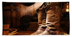 Cowboy Boots In A Ranch Barn Hand Towel