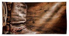 Cowboy Boots On Wood Floor Hand Towel