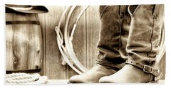 Cowboy Boots Outside Saloon Hand Towel