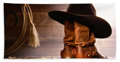Cowboy Hat On Boots Hand Towel