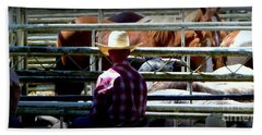 Cowboys Corral Hand Towel by Susan Garren