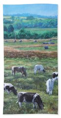 Hand Towel featuring the painting Cows In A Field In The Devon Countryside by Martin Davey