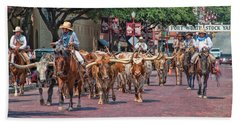 Cowtown Cattle Drive Bath Towel by David and Carol Kelly