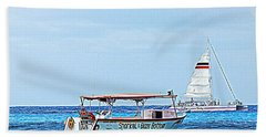 Hand Towel featuring the photograph Cozumel Excursion Boats by Debra Martz