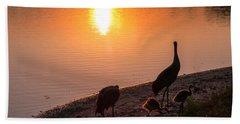 Cranes At Sunset Bath Towel