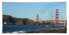 Crashing Waves And The Golden Gate Bridge Hand Towel