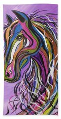 Hand Towel featuring the painting Crazy Horse by Janice Rae Pariza