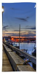 Crescent Moon Over Newburyport Harbor Bath Towel by Joann Vitali