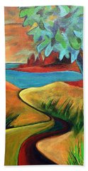 Hand Towel featuring the painting Crimson Shore by Elizabeth Fontaine-Barr