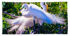 Criss-cross Egrets Bath Towel