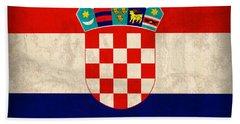 Croatia Flag Vintage Distressed Finish Bath Towel