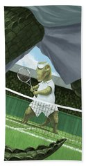 Bath Towel featuring the painting Crocodiles Playing Tennis At Wimbledon  by Martin Davey