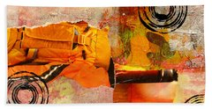 Cross Town Bus Abstract Collage Painting Bath Towel