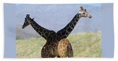 Crossed Giraffes Hand Towel by Phyllis Kaltenbach
