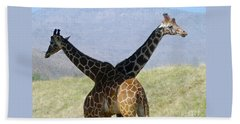 Crossed Giraffes Bath Towel
