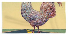 Crossing Chicken Hand Towel by James W Johnson