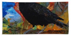 Crow On A Branch Bath Towel