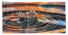 Hand Towel featuring the photograph Crown Shaped Water Drop Macro by Teresa Zieba
