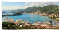 Cruise Ships In St. Thomas Usvi Bath Towel by Roupen  Baker