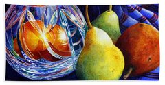 Hand Towel featuring the painting Crystal And Pears by Roger Rockefeller