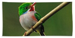 Cuban Tody Bath Towel by Tony Beck