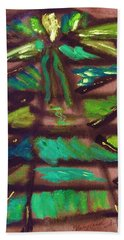 Bath Towel featuring the painting Cubist Tree by Mary Carol Williams