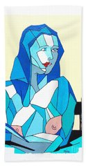 Cubistic Blue Lady Hand Towel by Roberto Prusso